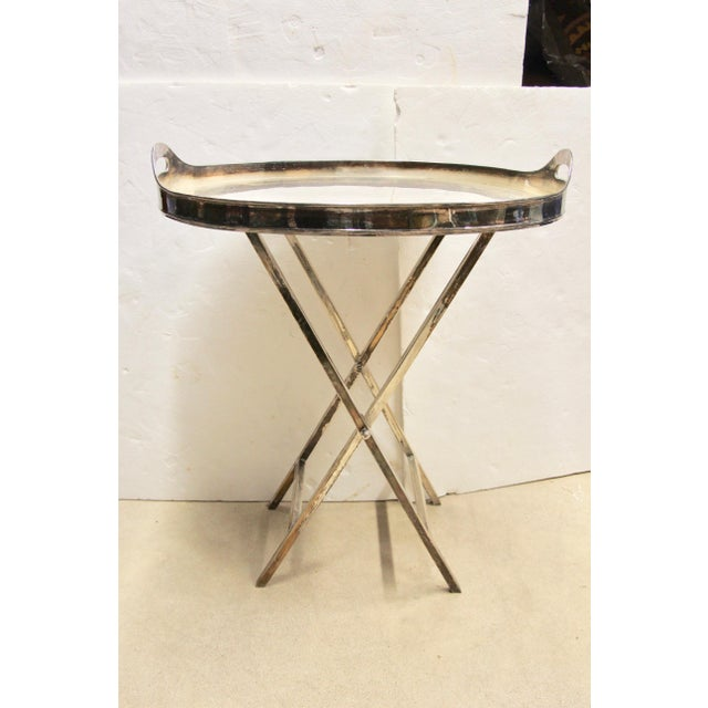 Silver-Plated Folding Tray Table For Sale - Image 9 of 9