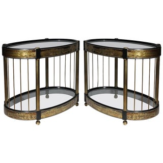 Pair of Hollywood Regency Mastercraft End Tables by Bernard Rohne For Sale