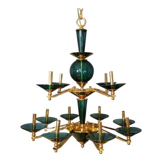 Mid 20th Century 12 Arm Green Glass and Brass Chandelier For Sale