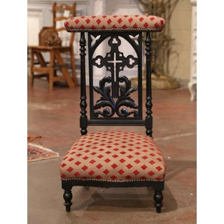19th Century French Louis Philippe Carved Blackened Prayer Bench With Fabric Preview