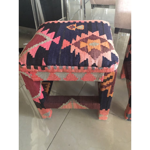 Textile Vintage Boho Kilim Rug Upholstered Benches Stools Ottomans -A Pair For Sale - Image 7 of 13
