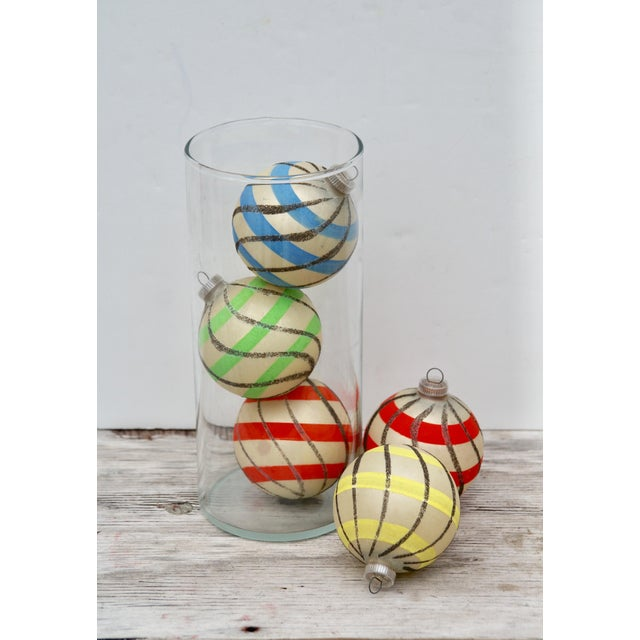 Blue Striped West German Christmas Ornaments - Set of 5 For Sale - Image 8 of 11