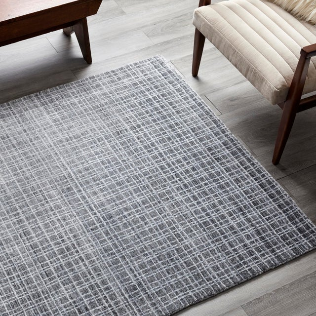 Gray Wesley, Contemporary Modern Loom Knotted Area Rug, Charcoal, 4 X 6 For Sale - Image 8 of 10