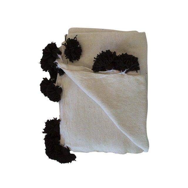 Moroccan Pom Pom Blanket, White With Brown Pom Pom For Sale