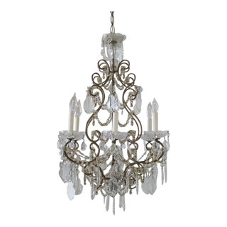 Antique French Macaroni Beaded Chandelier For Sale