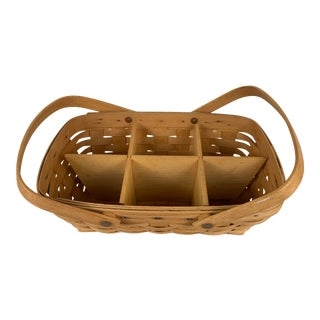 Vintage Woven Longaberger Basket With Wood Divider For Sale
