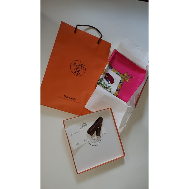 Pink 1990 Hermes Scarf With Box, Bag, Receipt, Care Card For Sale - Image 8 of 10