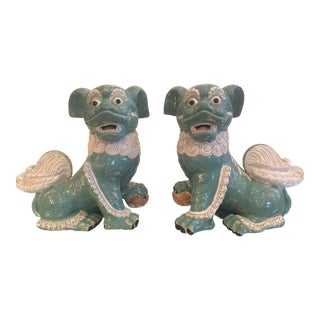1960s Asian Quite Large Soft Turquoise and Cream Ceramic Foo Dogs - a Pair For Sale