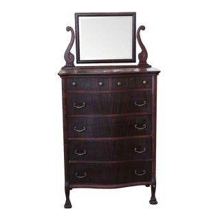 19th Century Traditonal Mahogany Dresser With Beveled Mirror For Sale