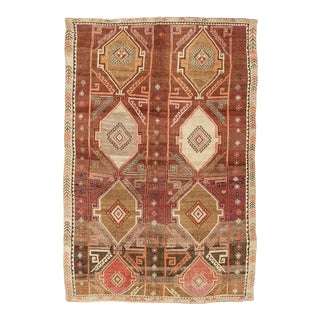 Vintage Brown and Warm Tones Large Turkish Kars Rug For Sale