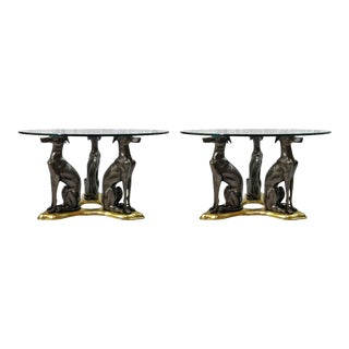 """Maitland-Smith Bronze and Brass """"Whippets"""" Coffee Tables - a Pair For Sale"""