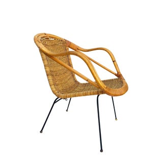 Mid Century Rattan & Sculpted Bamboo Hoop Chair Cast Iron Legs For Sale