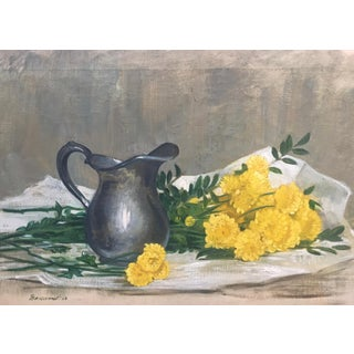 1963 Original Still Life W/ Chrysanthemums-Oil on Canvas-Signed For Sale