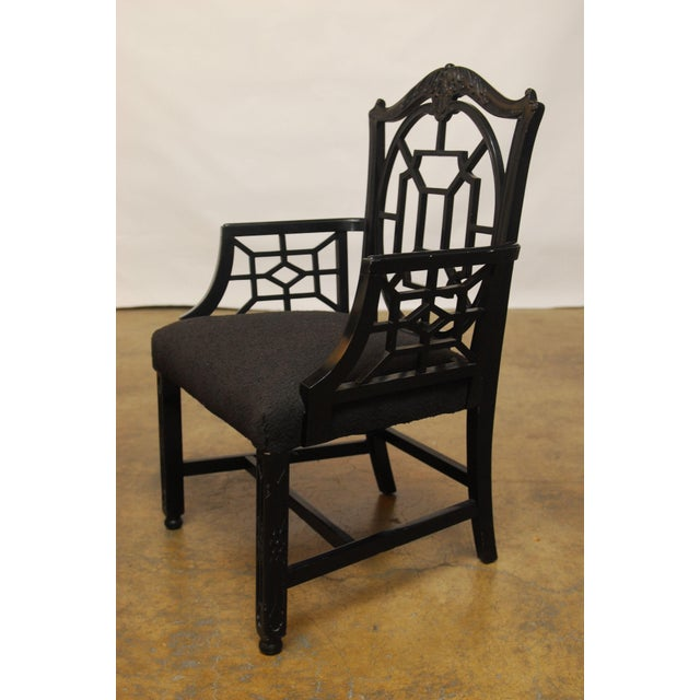Black Lacquer Chinese Chippendale Armchair - Pair - Image 4 of 7