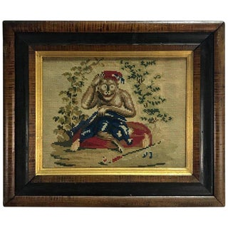 English Victorian Needlework of a Monkey Wearing a Fez For Sale