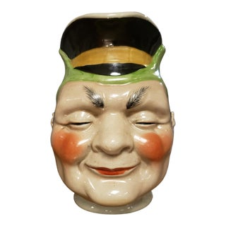 Antique Mid 19th Century Majolica Sarreguemines Character Jug For Sale