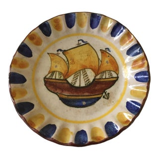 Hand Made & Hand Painted Ship Motif Plate