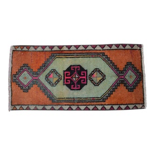 Distressed Low Pile Turkish Yastik Petite Rug Hand Knotted Faded Mat - 1'5'' X 3' For Sale