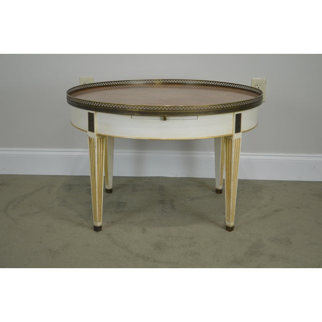 Baker Vintage Regency Directoire Style Round Painted Bouillotte Coffee Table For Sale - Image 10 of 13