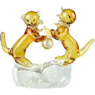 Murano Golden Amber Gold Flecks Italian Art Glass Double Kitty Cat Sculpture, Mid 20th Century For Sale
