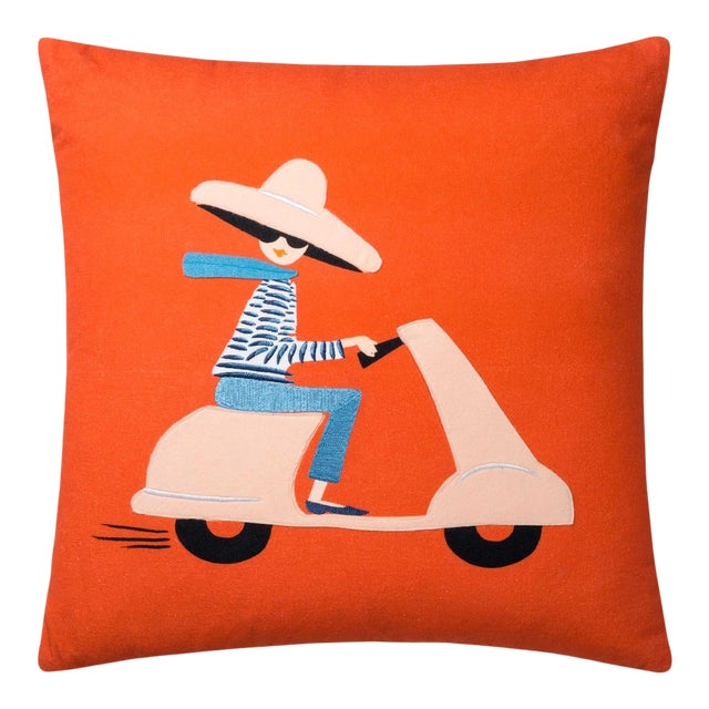 Scooter Girl Pillow from Kenneth Ludwig Chicago For Sale
