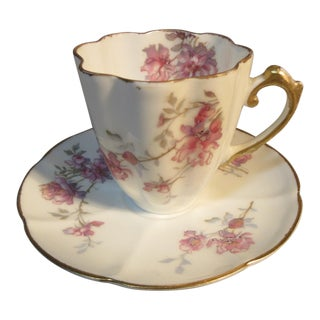 Circa 1895 D&C Limoges Floral Quatrefoil Shape Demitasse Cup & Saucer - a Pair For Sale