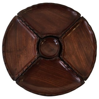 1950s Modern Rosewood Five-Piece Pedestal Serving Tray For Sale