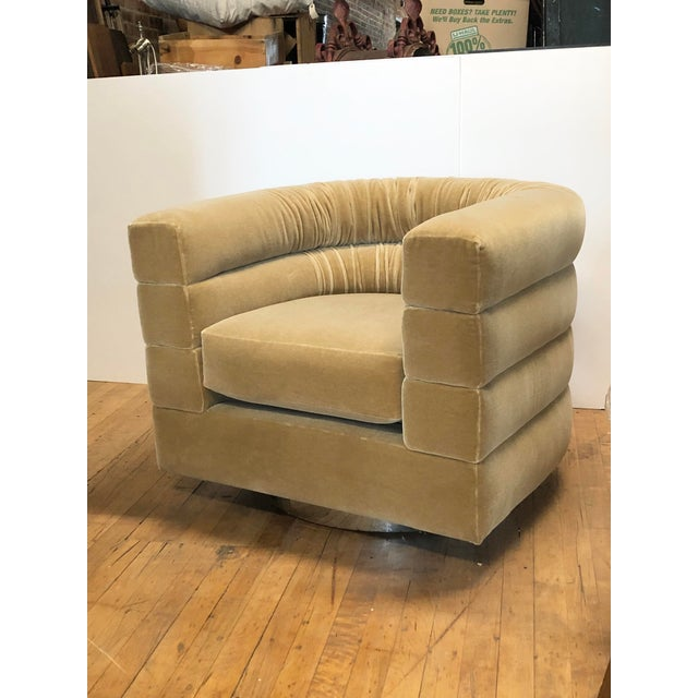 Midcentury lounge swivel chair by Milo Baughman. New mohair upholstery and chrome base