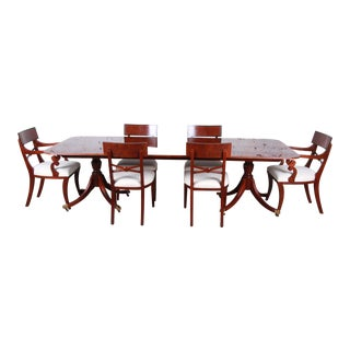Baker Furniture Historic Charleston Georgian Banded Inlaid Mahogany Dining Set For Sale
