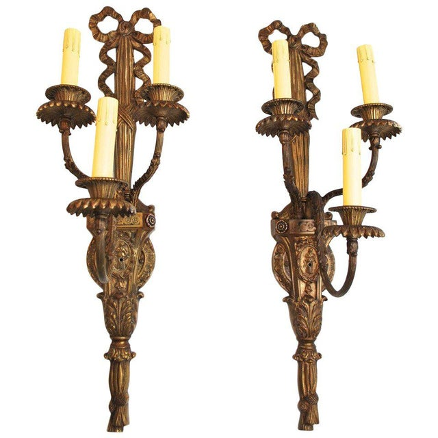 French Bronze Sconces - A Pair For Sale - Image 4 of 4