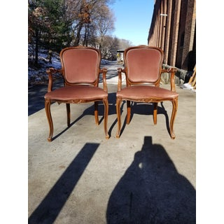 1950s Vintage Victorian Louis XVI Carved Wood Velvet Armchairs - a Pair Preview