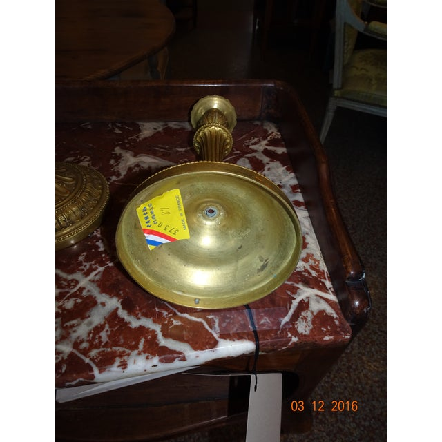 Brass Candle Holders, Pair For Sale In New Orleans - Image 6 of 10