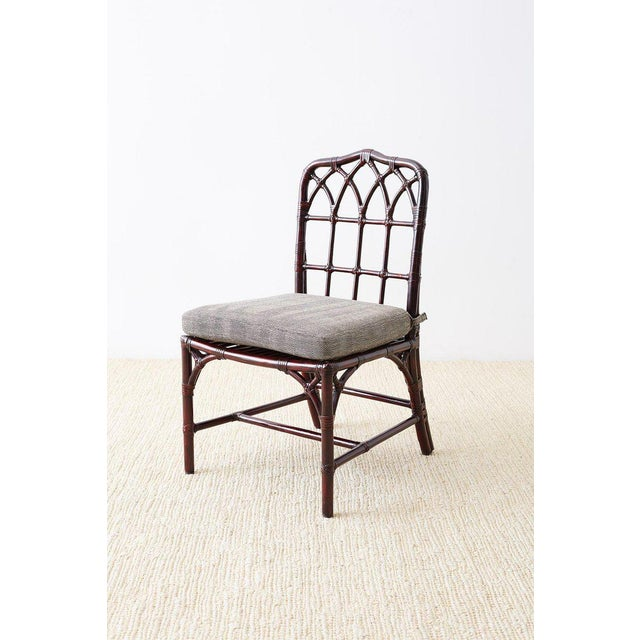 McGuire Set of Four McGuire Lacquered Bamboo Dining Chairs For Sale - Image 4 of 13