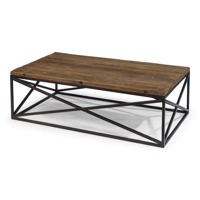 Estimated Retail Price: $1935. This coffee table is made from reclaimed pine and features an iron metal frame. Stunning...