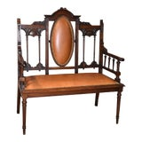 Image of Antique Edwardian Carved Walnut Settee For Sale