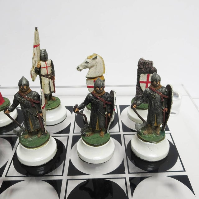 1950s Chess Set With Painted Lead Medieval Figures on Lucite Board For Sale - Image 5 of 9