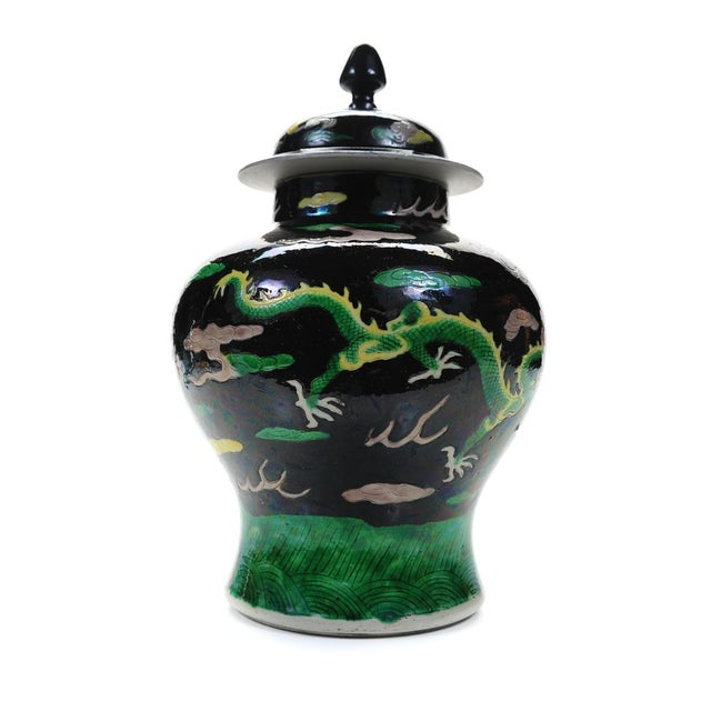 "Chinese ""Famille Noir"" Porcelain Dragon Ginger Jar For Sale In Los Angeles - Image 6 of 9"