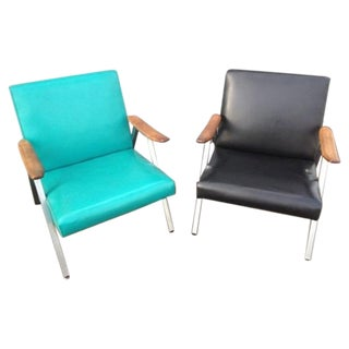 Mid-Century Modern Low Profile Chairs - a Pair For Sale