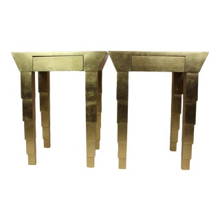 1990s Hollywood Regency Authentic Gold Leaf Nightstands - Set of 2 For Sale