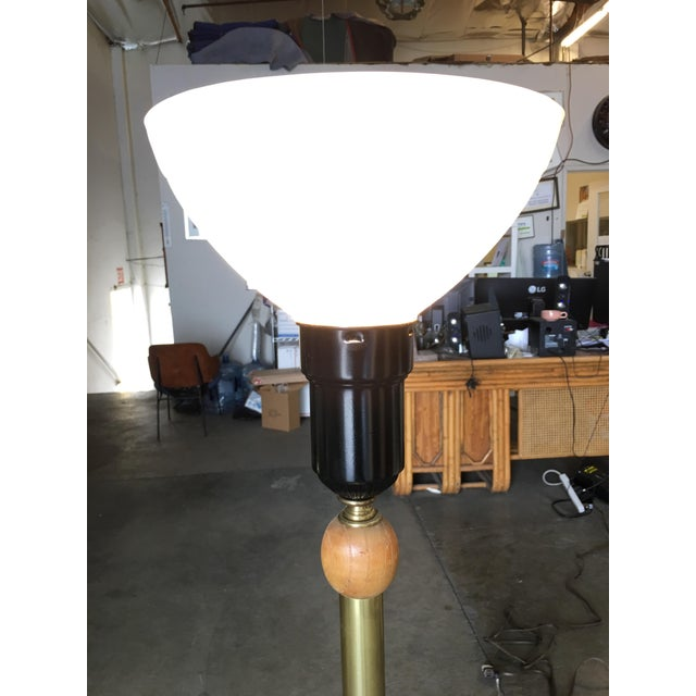 Wood Heifetz Style Hand-Carved Abstract Torchiere Floor Lamp For Sale - Image 7 of 9