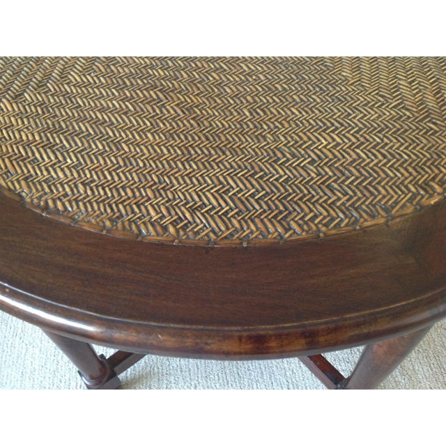 Americana Round Wood Table With Woven Wicker Top For Sale - Image 3 of 6