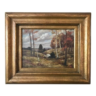 Vintage American Impressionist Oil Painting New York Fall Landscape Thomas De Laurier For Sale