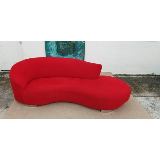 Vladimir Kagan Red Velvet Serpentine Sofa . For Sale - Image 12 of 13