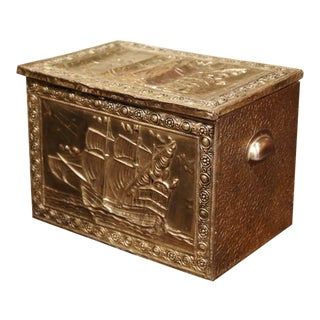 19th Century French Repousse Brass and Wood Box With Sailboat Decor For Sale