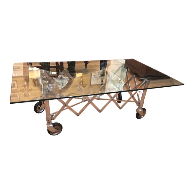 Industrial Chic Coffee Table: Modern Industrial Chic Aluminum Gurney Coffee Table