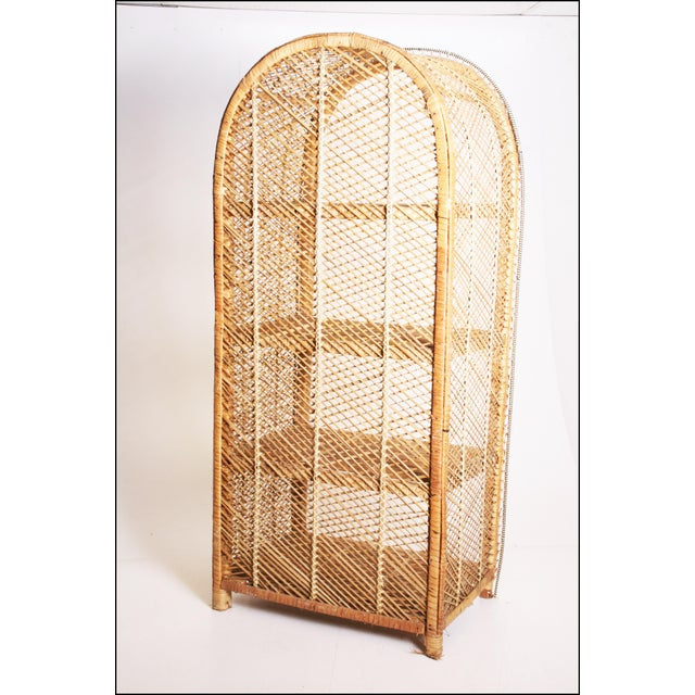 Vintage Boho Chic Wicker Bookcase with Dome Top For Sale - Image 4 of 11