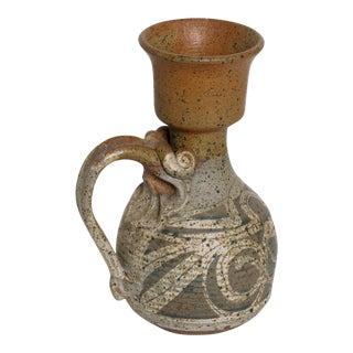Mid Century Modern Ceramic Pitcher With Sculptural Shape For Sale