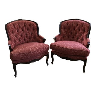 Century Furniture Coral Color Tufted French Chairs - a Pair For Sale