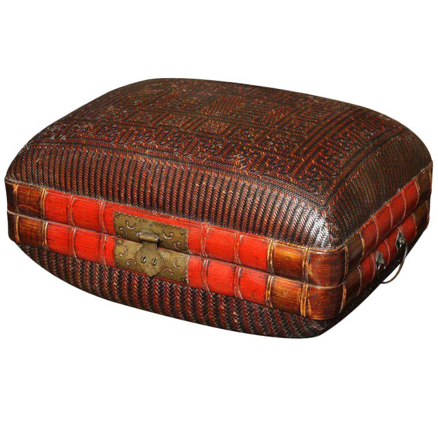 Turn of the Century Chinese Woven Rattan and Bamboo Pillow Basket from Shanghai For Sale