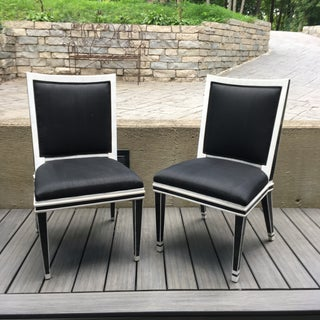 Black and White Marble and Silk Movie Prop Side Chairs - a Pair Preview